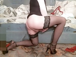 Exotic Homemade Shemale record with Stockings, Solo scenes