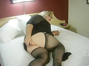 Tgirl Danielle Dot Playing W16in Jelly Dildo While Watching Christian Xxx.