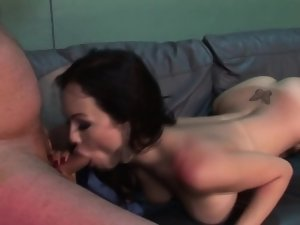 Shemale gets face cumshot