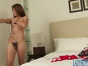 Gorgeous Thai Ladyboy Solo In Massage Room